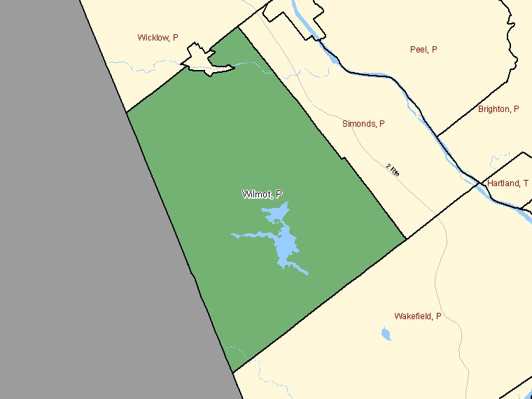 Map: Wilmot, Parish, Census Subdivision (shaded in green), New Brunswick