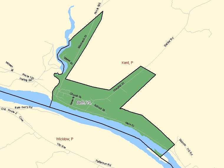Map: Bath, Village, Census Subdivision (shaded in green), New Brunswick