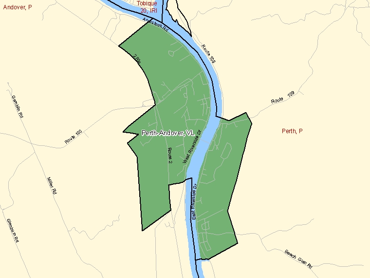 Map: Perth-Andover, Village, Census Subdivision (shaded in green), New Brunswick
