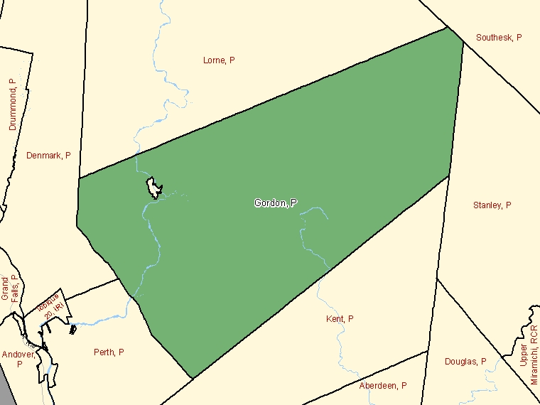 Map: Gordon, Parish, Census Subdivision (shaded in green), New Brunswick