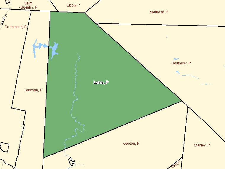 Map: Lorne, Parish, Census Subdivision (shaded in green), New Brunswick