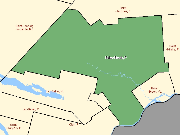Map: Baker Brook, Parish, Census Subdivision (shaded in green), New Brunswick