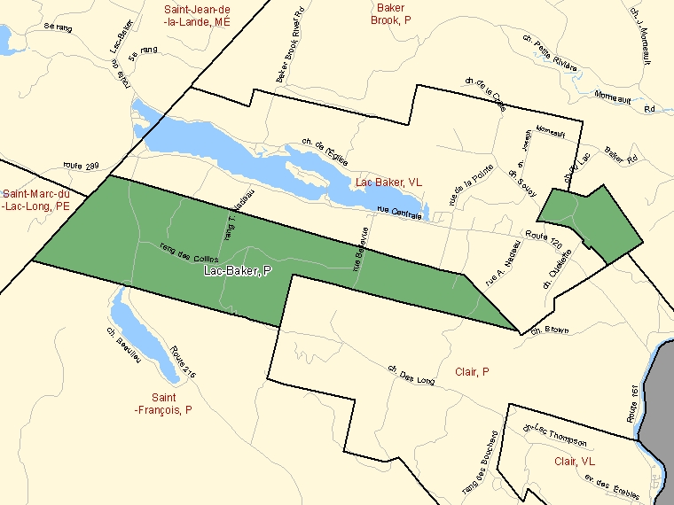 Map: Lac-Baker, Parish, Census Subdivision (shaded in green), New Brunswick