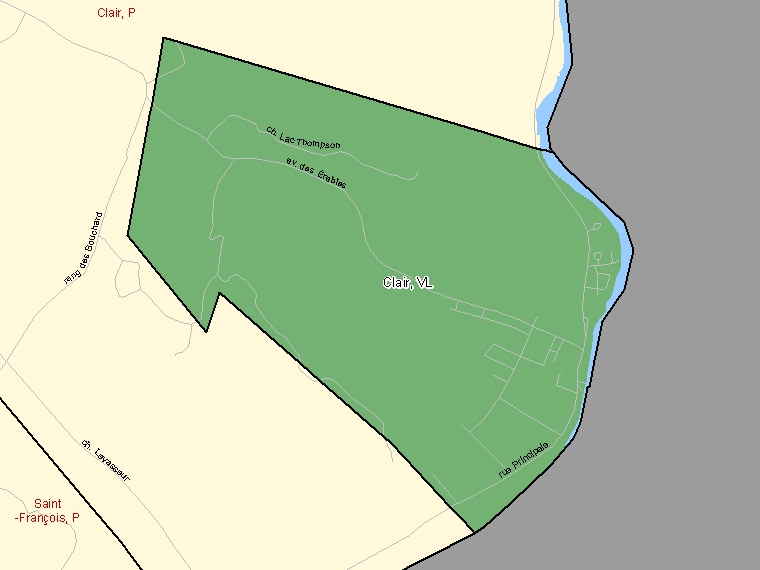 Map: Clair, Village, Census Subdivision (shaded in green), New Brunswick