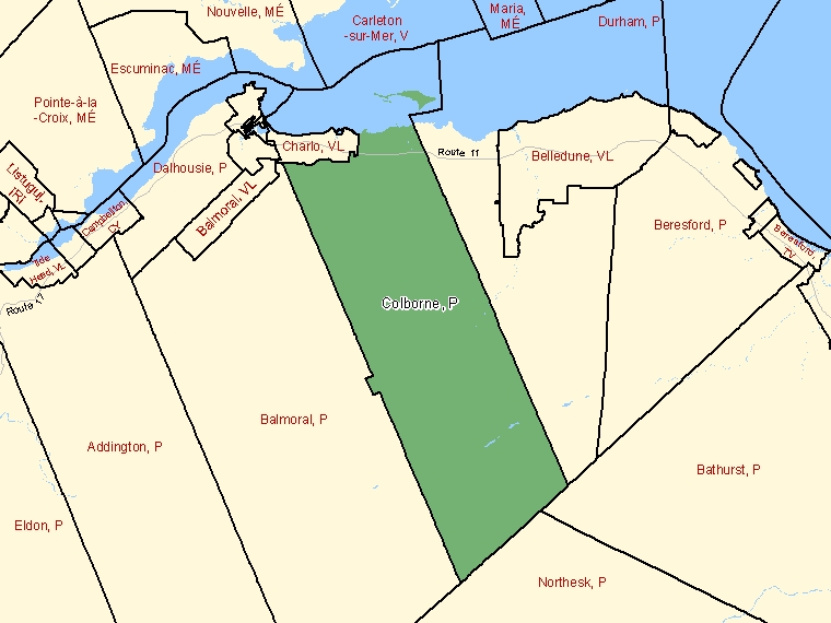 Map: Colborne, Parish, Census Subdivision (shaded in green), New Brunswick