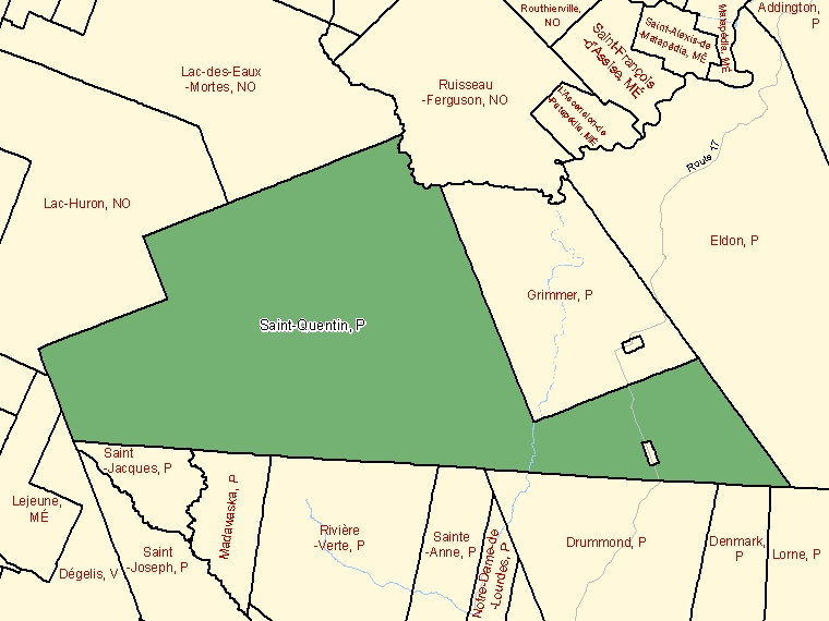 Map: Saint-Quentin, Parish, Census Subdivision (shaded in green), New Brunswick
