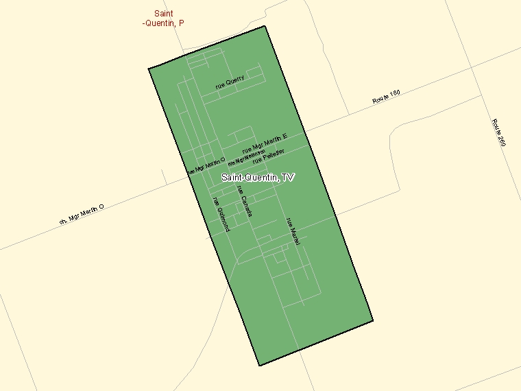 Map: Saint-Quentin, Town, Census Subdivision (shaded in green), New Brunswick