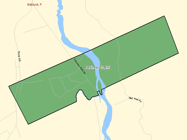 Map: Pabineau 11, Indian reserve, Census Subdivision (shaded in green), New Brunswick