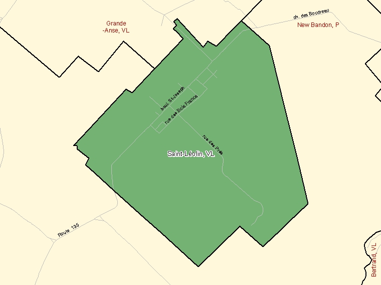 Map: Saint-Léolin, Village, Census Subdivision (shaded in green), New Brunswick