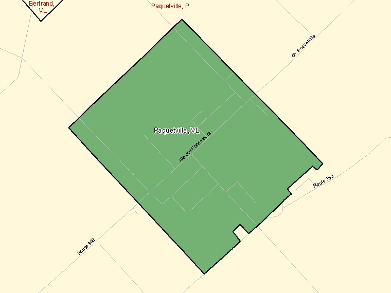 Map: Paquetville, Village, Census Subdivision (shaded in green), New Brunswick