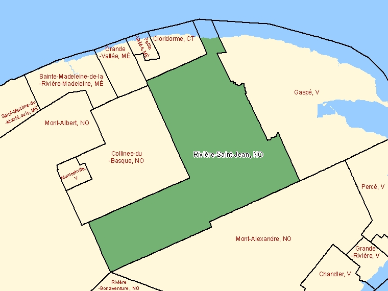Map: Rivière-Saint-Jean, Unorganized, Census Subdivision (shaded in green), Quebec