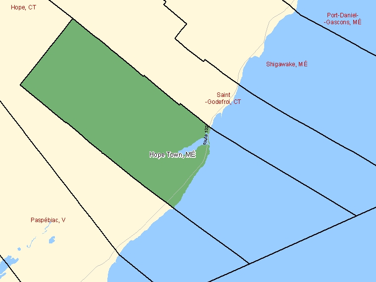 Map: Hope Town, Municipalité, Census Subdivision (shaded in green), Quebec