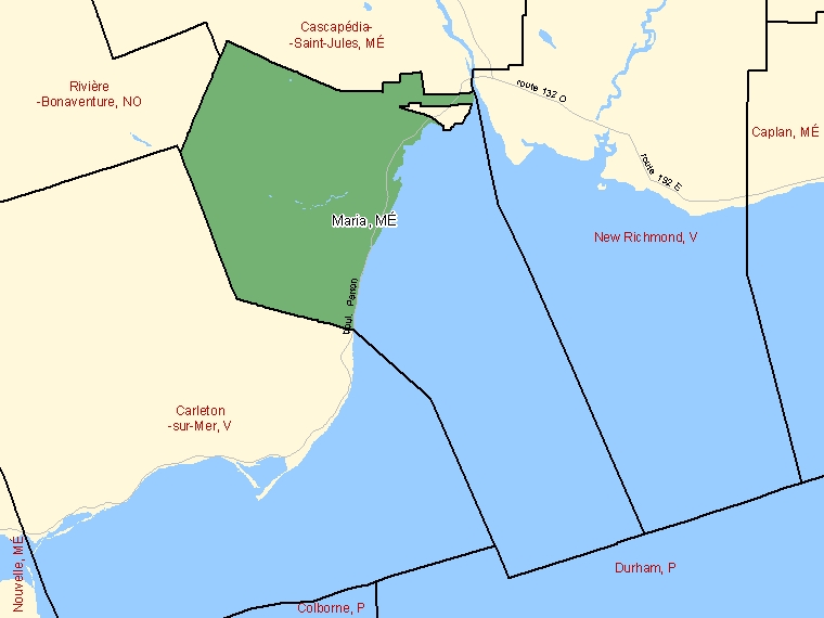 Map: Maria, Municipalité, Census Subdivision (shaded in green), Quebec