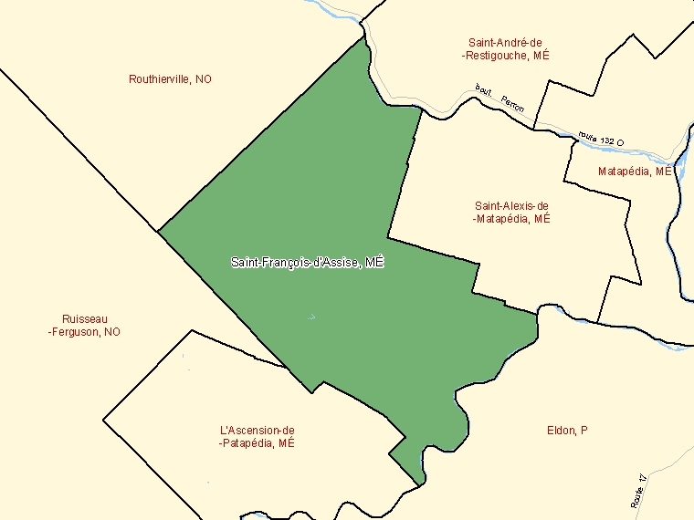 Map: Saint-François-d'Assise, Municipalité, Census Subdivision (shaded in green), Quebec