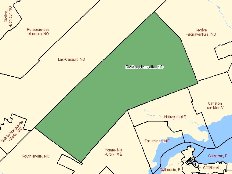 Map: Rivière-Nouvelle, Unorganized, Census Subdivision (shaded in green), Quebec