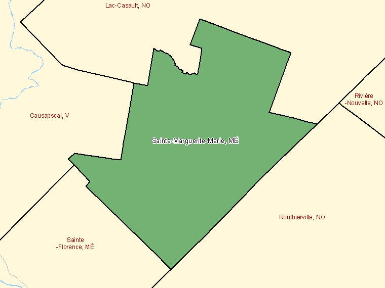 Map: Sainte-Marguerite-Marie, Municipalité, Census Subdivision (shaded in green), Quebec