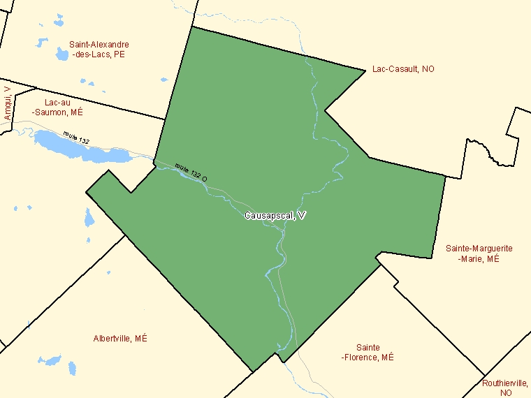 Map: Causapscal, Ville, Census Subdivision (shaded in green), Quebec