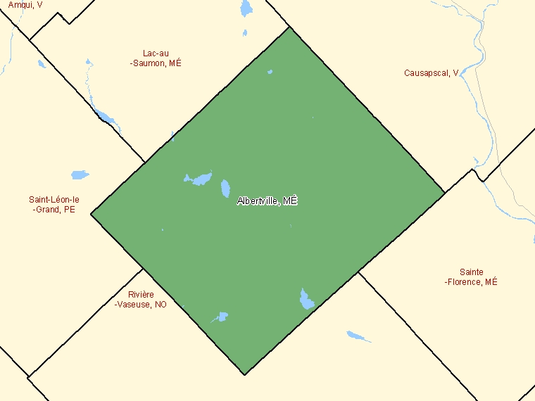 Map: Albertville, Municipalité, Census Subdivision (shaded in green), Quebec
