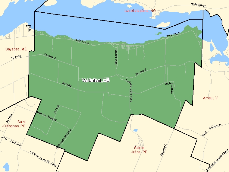 Map: Val-Brillant, Municipalité, Census Subdivision (shaded in green), Quebec