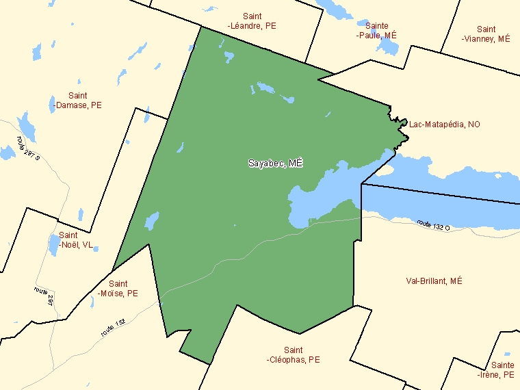 Map: Sayabec, Municipalité, Census Subdivision (shaded in green), Quebec