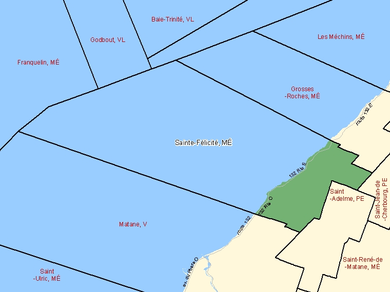 Map: Sainte-Félicité, Municipalité, Census Subdivision (shaded in green), Quebec