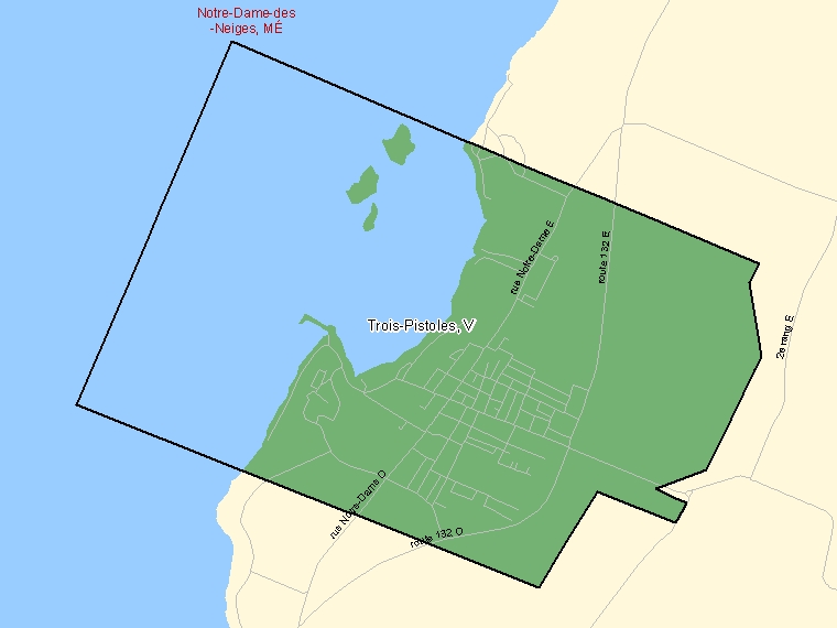 Map: Trois-Pistoles, Ville, Census Subdivision (shaded in green), Quebec