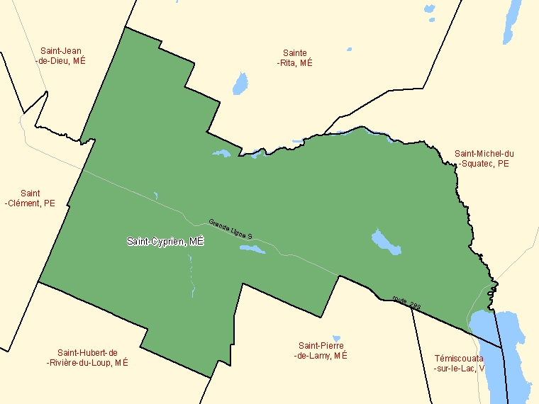Map: Saint-Cyprien, Municipalité, Census Subdivision (shaded in green), Quebec