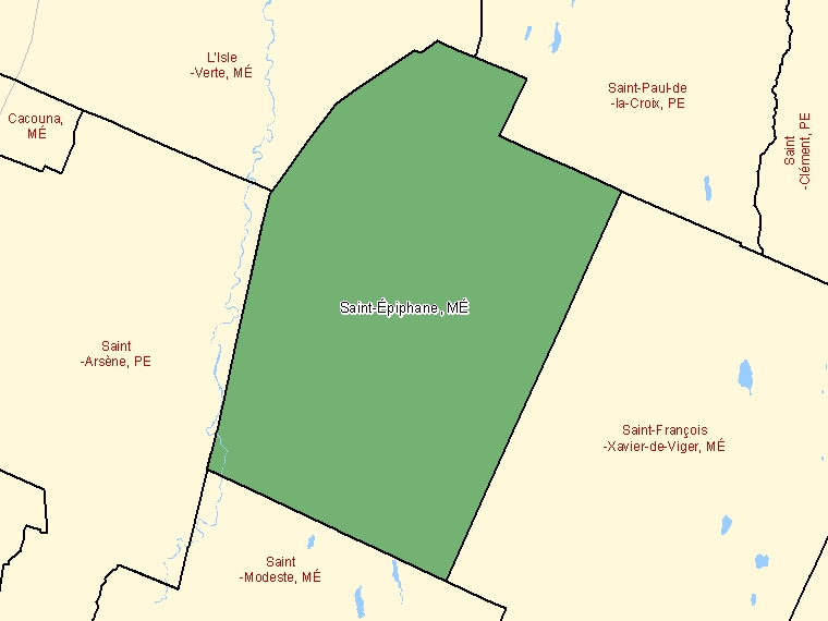 Map: Saint-Épiphane, Municipalité, Census Subdivision (shaded in green), Quebec