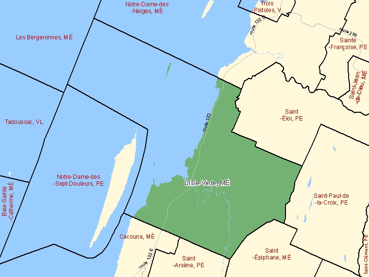 Map: L'Isle-Verte, Municipalité, Census Subdivision (shaded in green), Quebec