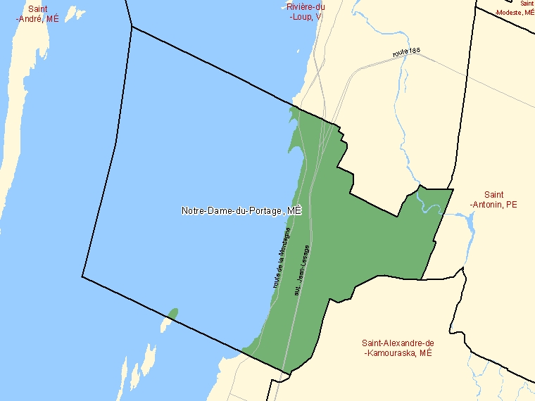 Map: Notre-Dame-du-Portage, Municipalité, Census Subdivision (shaded in green), Quebec