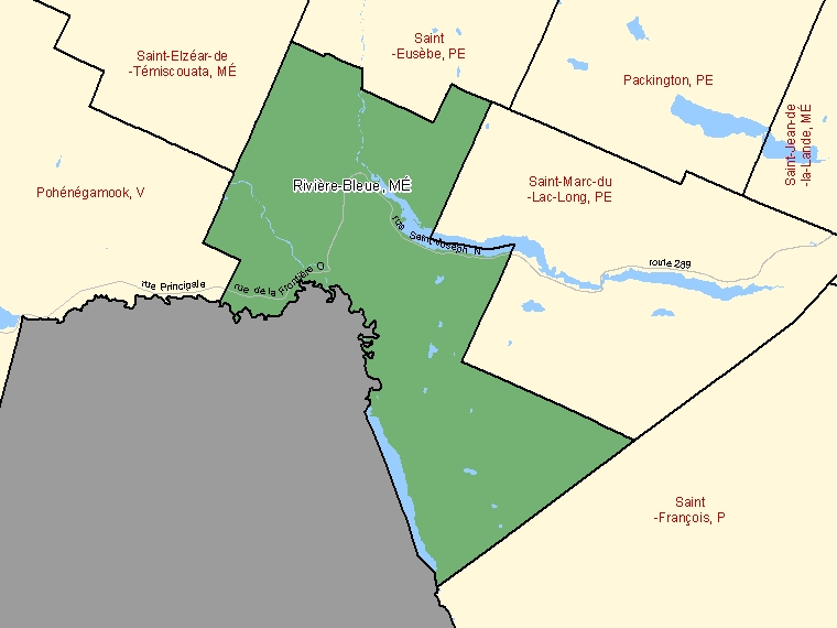 Map: Rivière-Bleue, Municipalité, Census Subdivision (shaded in green), Quebec