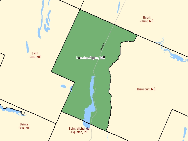 Map: Lac-des-Aigles, Municipalité, Census Subdivision (shaded in green), Quebec