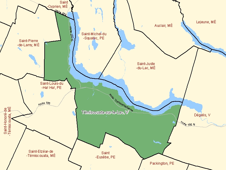 Map: Témiscouata-sur-le-Lac, Ville, Census Subdivision (shaded in green), Quebec