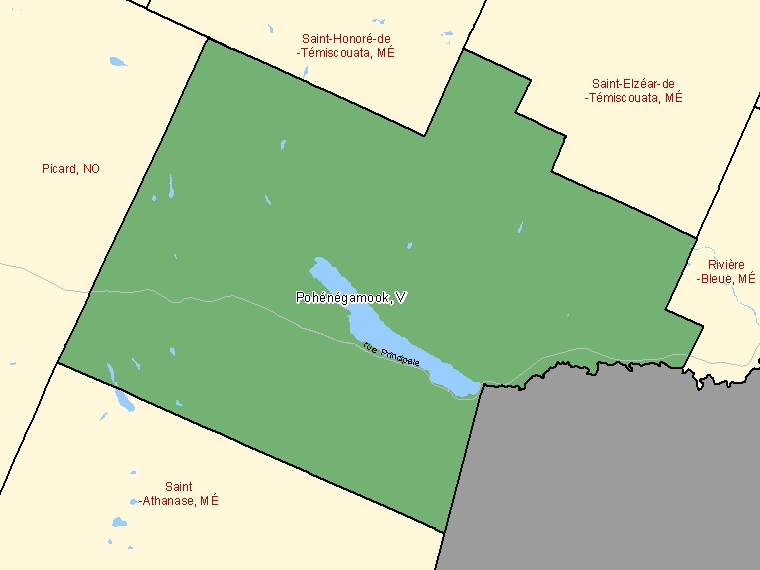 Map: Pohénégamook, Ville, Census Subdivision (shaded in green), Quebec