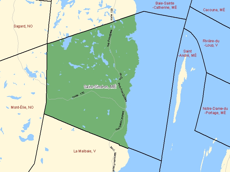 Map: Saint-Siméon, Municipalité, Census Subdivision (shaded in green), Quebec