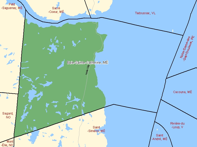 Map: Baie-Sainte-Catherine, Municipalité, Census Subdivision (shaded in green), Quebec