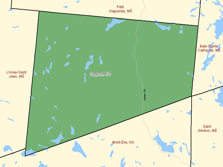 Map: Sagard, Unorganized, Census Subdivision (shaded in green), Quebec