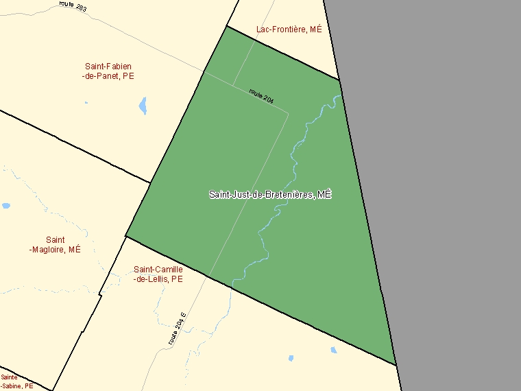 Map: Saint-Just-de-Bretenières, Municipalité, Census Subdivision (shaded in green), Quebec