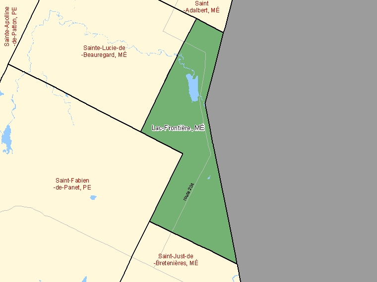 Map: Lac-Frontière, Municipalité, Census Subdivision (shaded in green), Quebec