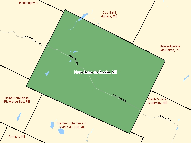 Map: Notre-Dame-du-Rosaire, Municipalité, Census Subdivision (shaded in green), Quebec