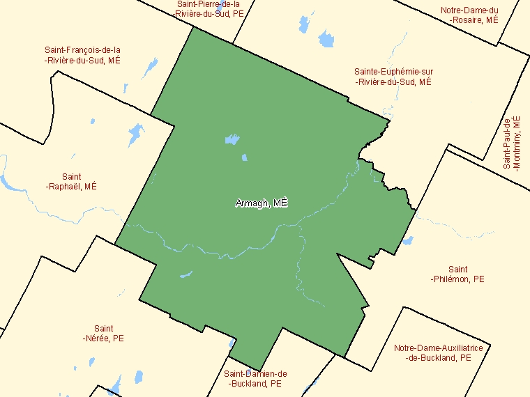 Map: Armagh, Municipalité, Census Subdivision (shaded in green), Quebec