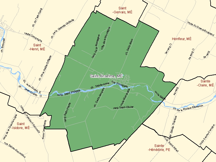 Map: Saint-Anselme, Municipalité, Census Subdivision (shaded in green), Quebec