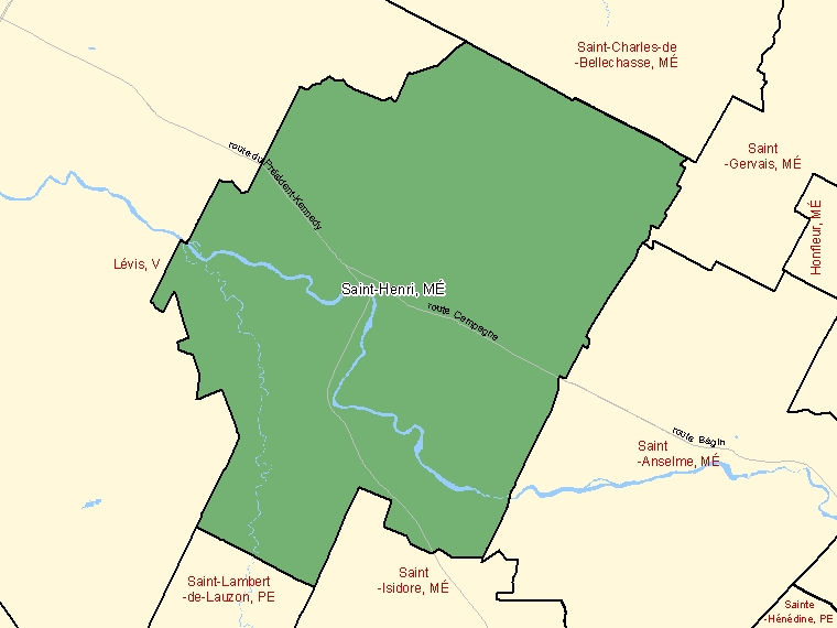 Map: Saint-Henri, Municipalité, Census Subdivision (shaded in green), Quebec