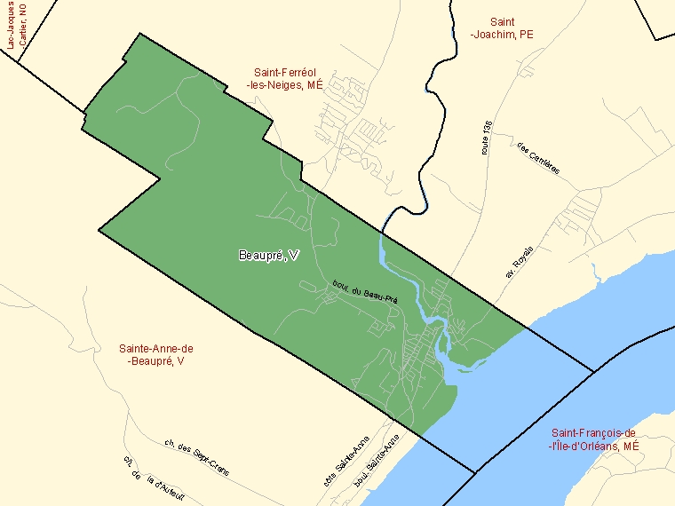 Map: Beaupré, Ville, Census Subdivision (shaded in green), Quebec