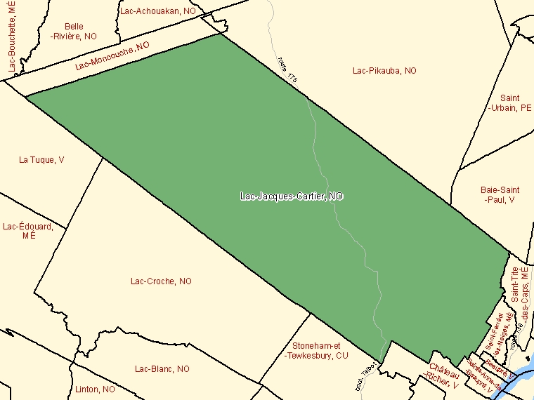 Map: Lac-Jacques-Cartier, Unorganized, Census Subdivision (shaded in green), Quebec