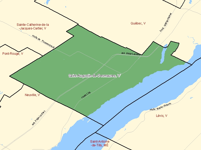 Map: Saint-Augustin-de-Desmaures, Ville, Census Subdivision (shaded in green), Quebec
