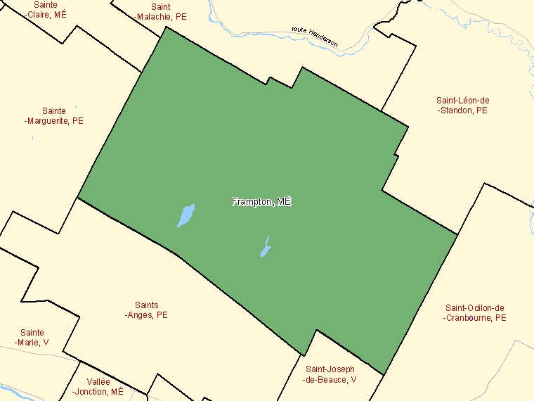 Map: Frampton, Municipalité, Census Subdivision (shaded in green), Quebec
