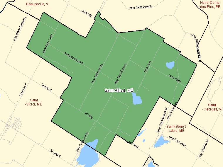 Map: Saint-Alfred, Municipalité, Census Subdivision (shaded in green), Quebec