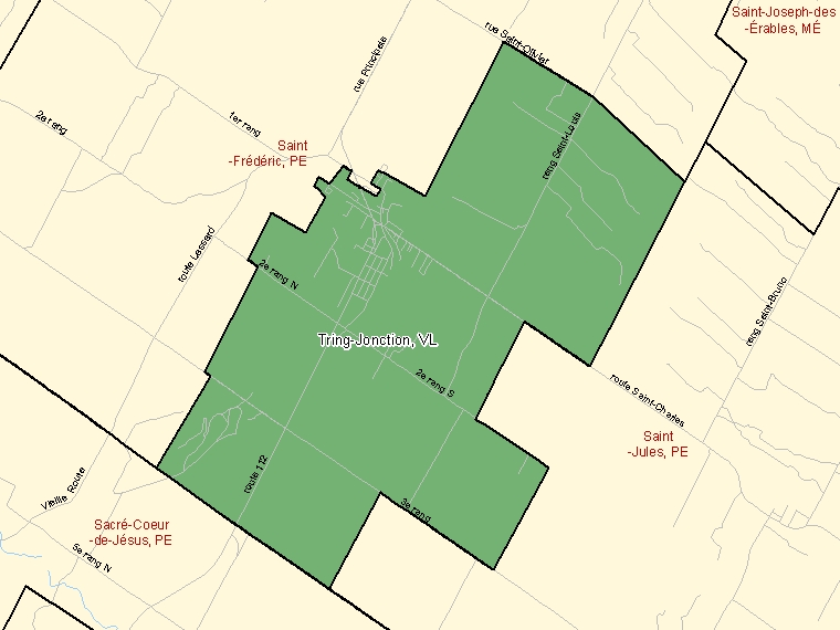 Map: Tring-Jonction, Village, Census Subdivision (shaded in green), Quebec