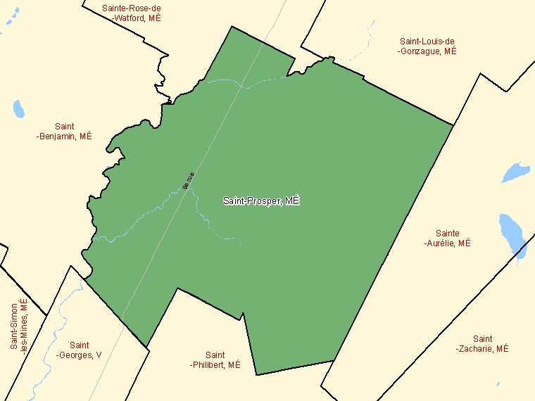 Map: Saint-Prosper, Municipalité, Census Subdivision (shaded in green), Quebec